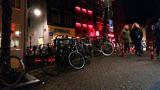 The view at restaurant mata hari in Amsterdam Red Light District.
