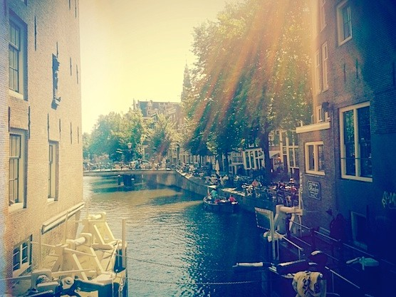Cafe Aen t Water and its beautiful view in Amsterdam's Red Light District.