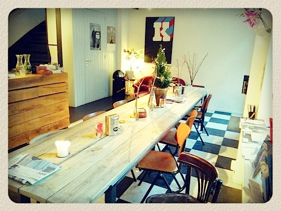 The interior of Amsterdam's coffee bar Quartier Putain.