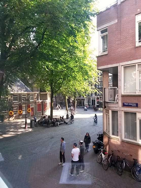 The view from Coffee Shop High Time in Amsterdam. Located just next to the Old Church Square in the Red Light District.