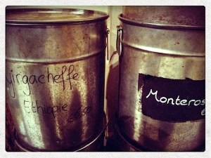 Coffee jars at Amsterdam's coffee bar Hofje van Wijs. Located on the Sea Dike in the Red Light District.
