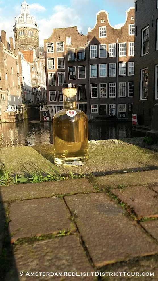 Delicious bottle of Dutch gin in Amsterdam's Red Light District. Oude Kolk op de Wallen.