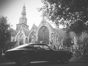 The Old Church in Amsterdam's Red Light District.