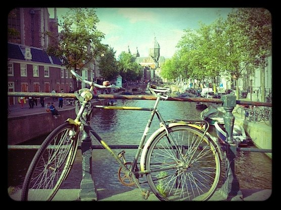 A bicycle in the heart of Amsterdam's Red Light District