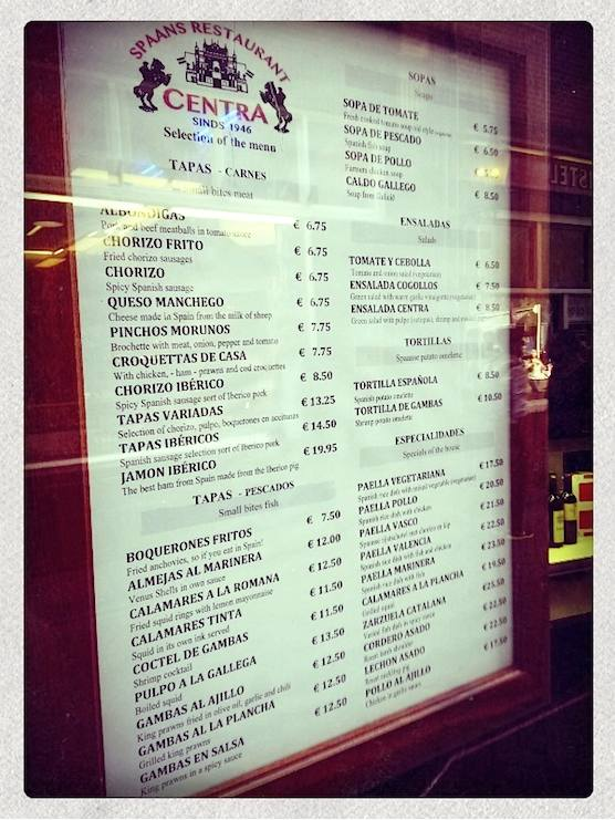 The menu of Restaurant Centra in Amsterdam's Red Light District