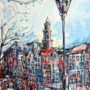Amsterdam-Souvenir-Art-Painting-Postcards-Canals-Wester-Church-small