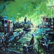 Amsterdam-Souvenir-Art-Painting-Postcards-Oosterdok-Green-small