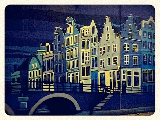 Street Art in Amsterdam. Canal Houses painted on the Nes Street.