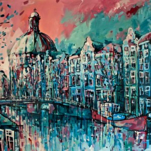 Painting Amsterdam Center Canals and Koepelkerk