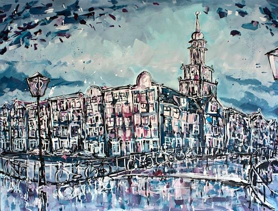 Painting Amsterdam Zuiderkerk for sale