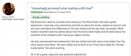 TripAdvisor review secret wine cellar Amsterdam Centre