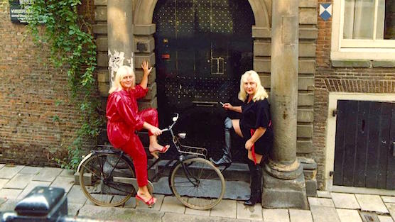 Martine and Louise Fokkens in the 70's in the Red Light District. Holland's most famous prostitutes