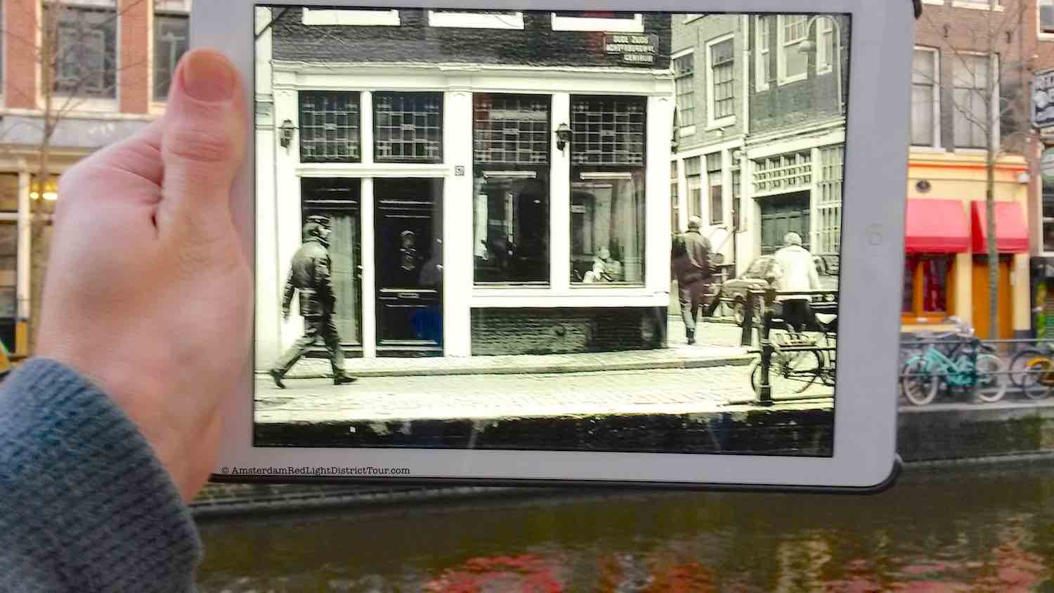 Amsterdam Red Light District Now and Then: Prostitute in a brothel
