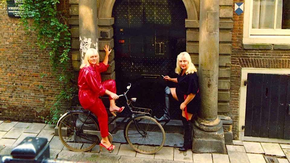Holland's most famous prostitutes - Martine & Louise Fokkens - in the Red Light District in 70's.