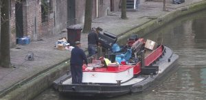 Garbage Boat in the Amsterdam canals