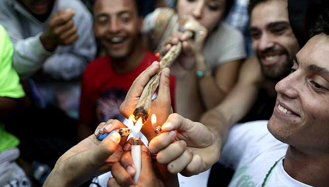 Marijuana Users Light One Up