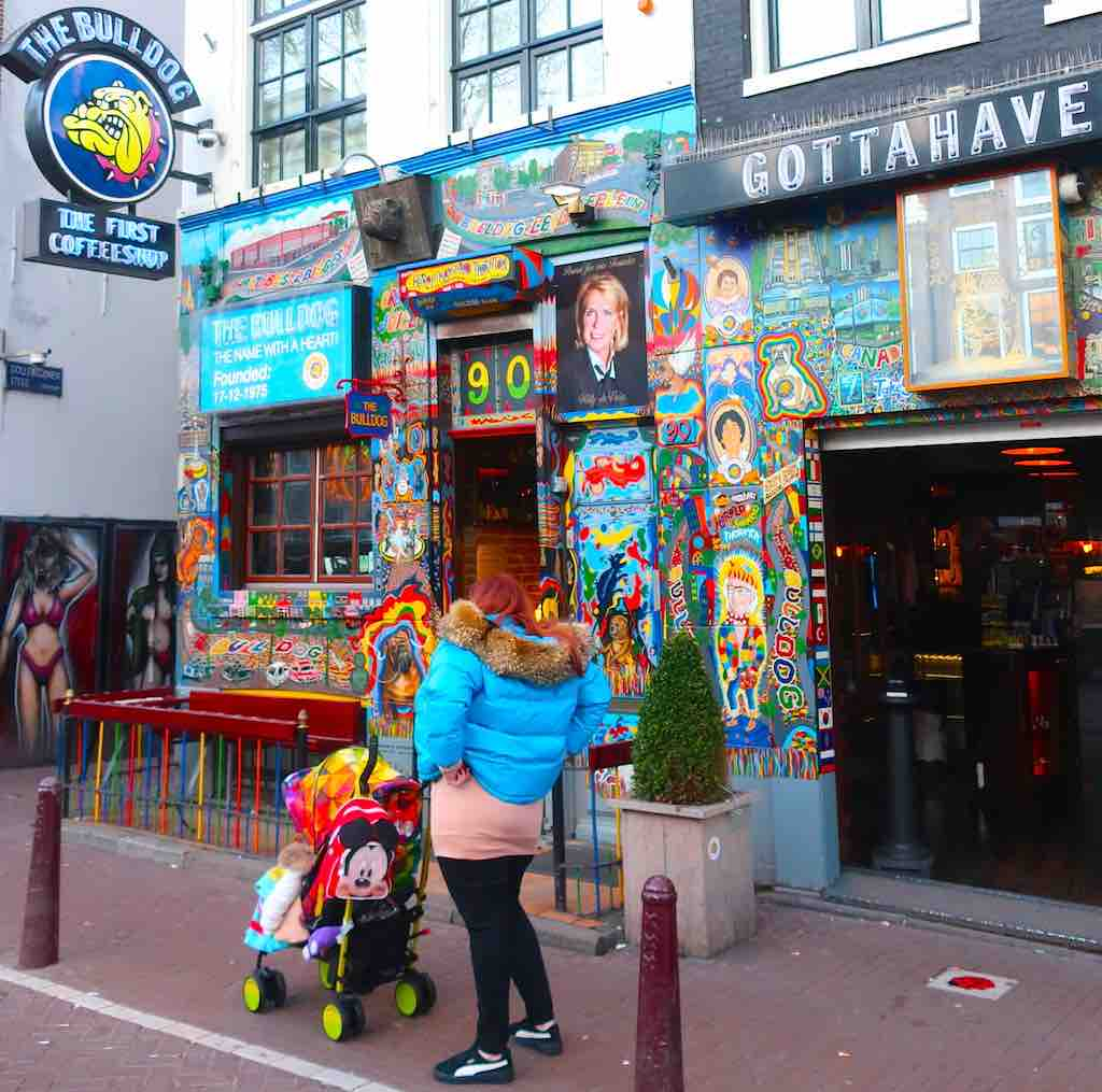 Cannabis Coffeeshop The Bulldog in Amsterdam Red Light District