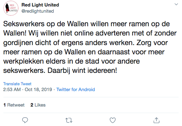 Tweet from Amsterdam Sex Workers Union