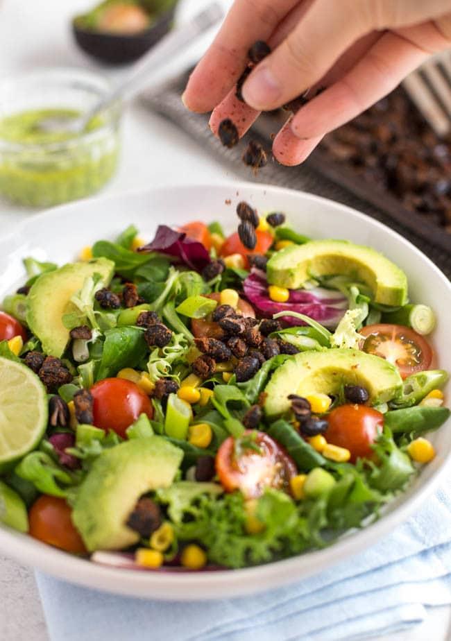 Roasted black bean taco salad-4