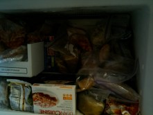 My freezer. Lean Cuisine not mine this time. Zippered baggies, totally mine.