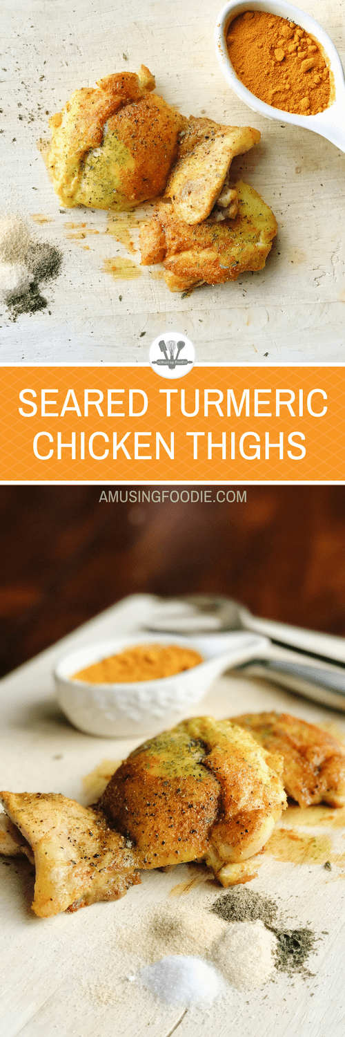 These seared turmeric chicken thighs are ready in 15 minutes and full of deep and savory flavor!