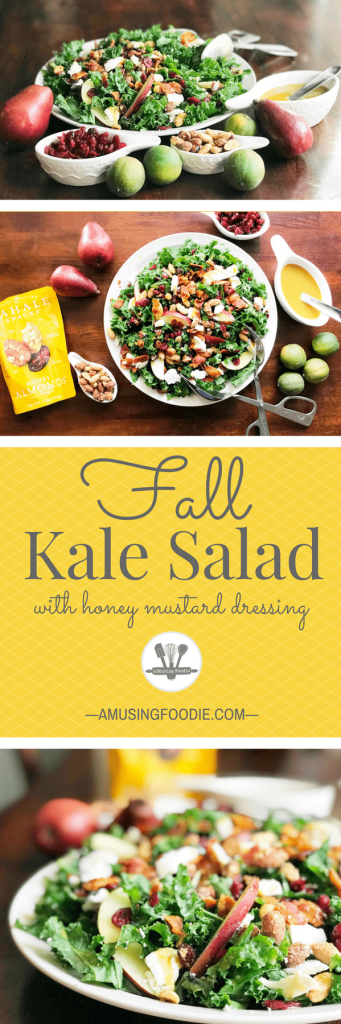 This fall kale salad is topped with Sahale Snacks Honey Almonds Glazed Mix, full of dried cranberries, sliced red pears, crispy bacon, honey goat cheese and a hint of lime juice. A simple homemade honey mustard dressing drizzled on top adds a final sweet and savory note. Yum! #changesnackingforgood #salad #kalesalad #holidaysalad