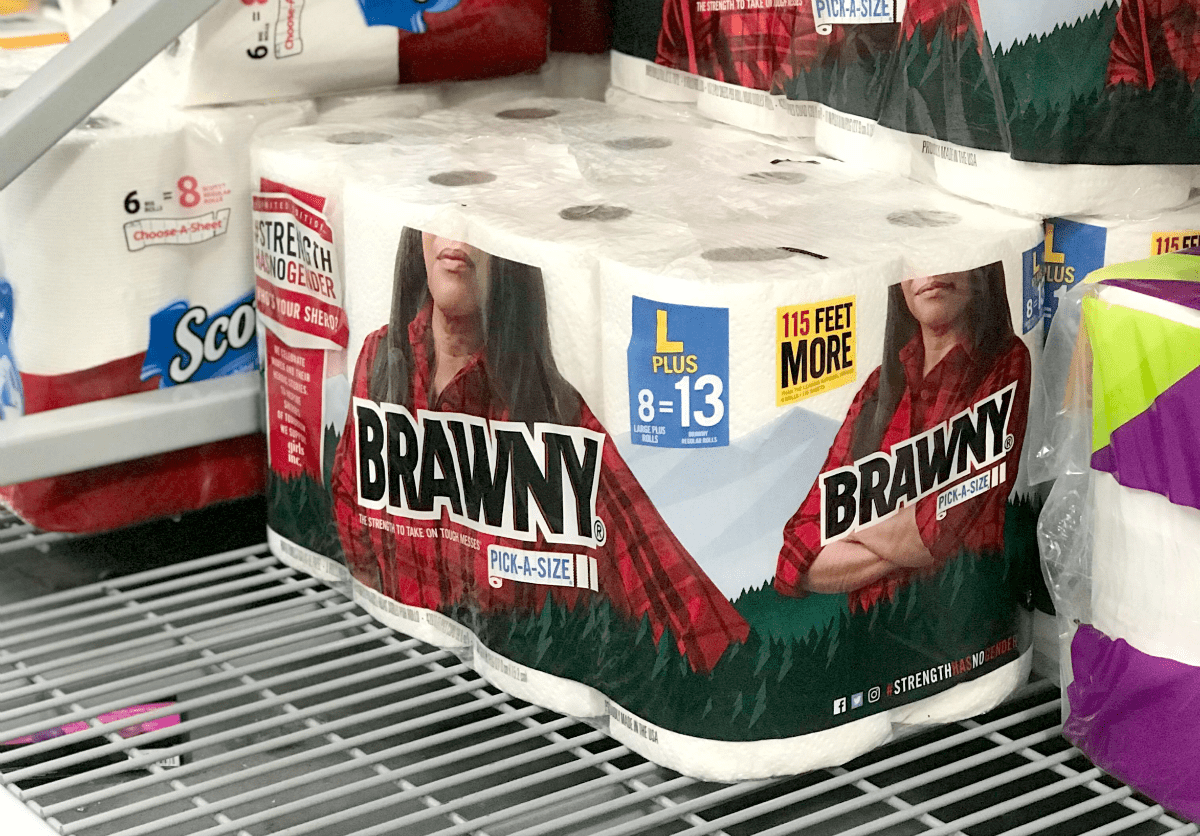Brawny® Pick-a-Size 8 Giant Plus, Exclusive to Walmart, limited-edition Strength Has No Gender™ pack.