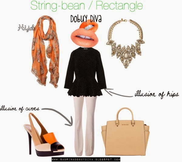string bean  The Art of Wearing Hijab Part 4: Evening Wear. A Rectangle Body Type string bean