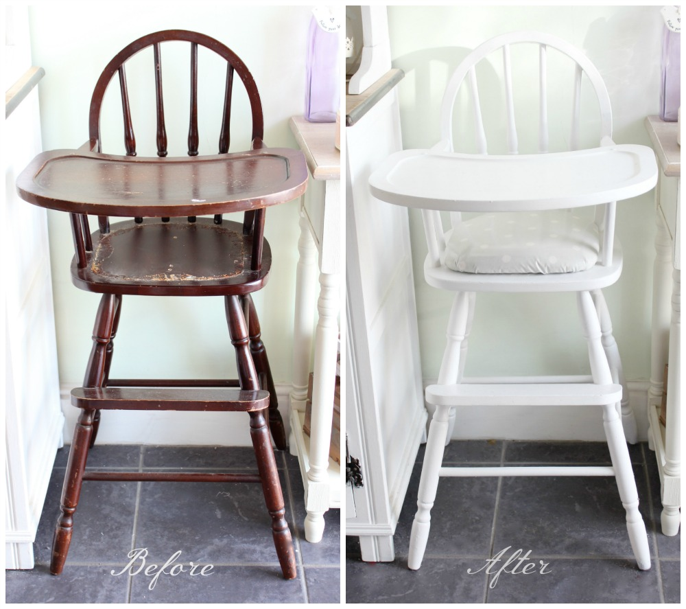 vintage wood high chair chairs for twins shabby to chic upcycled wooden highchair amy antoinette