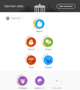 An example of how the Duolingo lessons are sequenced by difficulty.