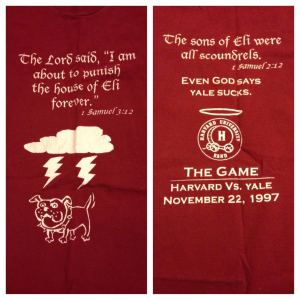 """T-shirt from """"The Game,"""" Harvard vs. Yale, my freshman year of college. Hilarious but no longer even comfortable for bed, so it lives on in a photo."""