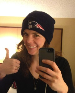 Dedication to the cause! Looking dumb in a Pats hat and work clothes in a hotel room for your pleasure!