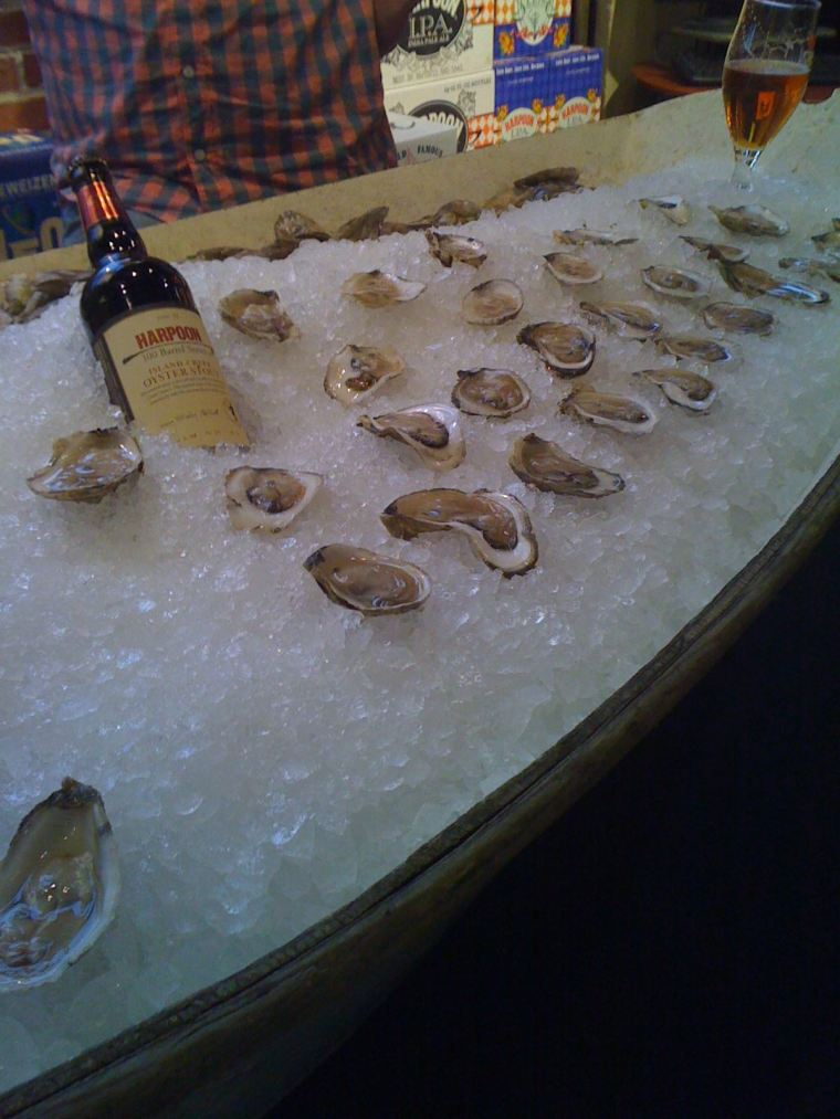 Still my favorite Harpoon event: Fresh oysters and oyster stout.