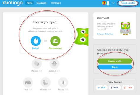 The calls to action on Duolingo's initial pages are prominent, clear, and highlight the most important set of possible actions. Motivated users can dig deeper for the more obscure functionality, but the important stuff is front-and-center.