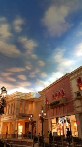 Inside the Paris casino--it's not only hard to tell what time of day it is, you feel like you're outdoors.