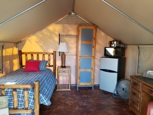 One of the covered canvas tent homes.