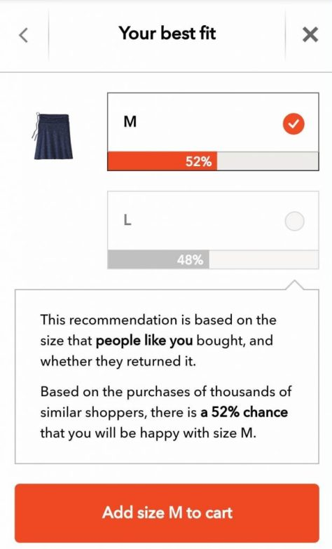 A size recommendation for a skirt based on input to the previous question, along with a probability that the buyer will like the fit based on what the algorithm knows