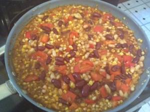 Bean, pepper, corn mixture