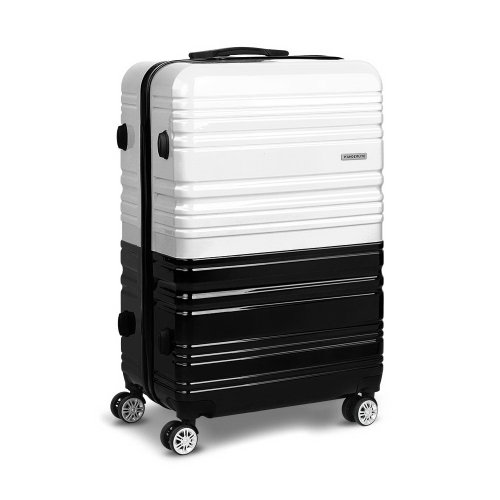 Set of 2 Premium Hard Shell Travel Luggage with TSA Lock Black and White