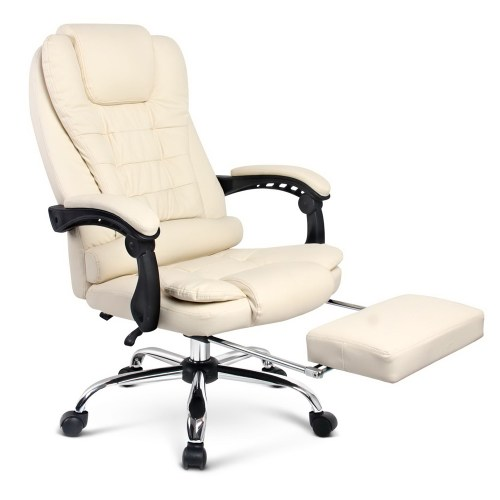Executive Office Chair with Foot Rest - Beige
