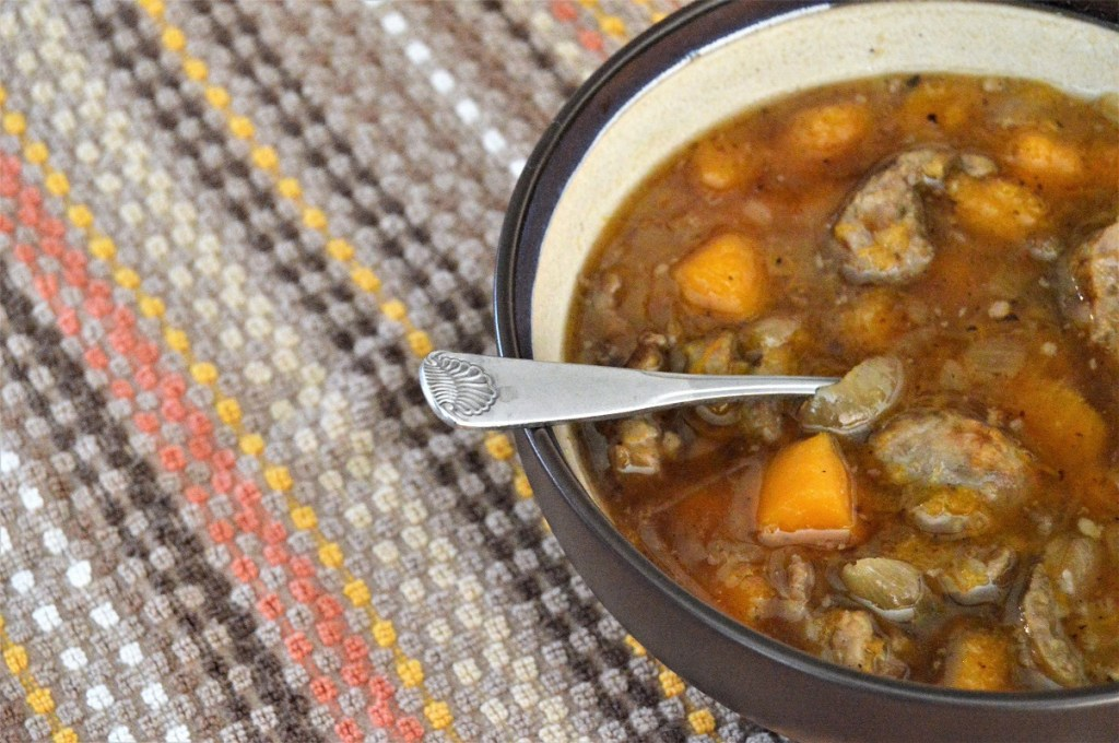 Butternut Beer Brats Soup for fall.