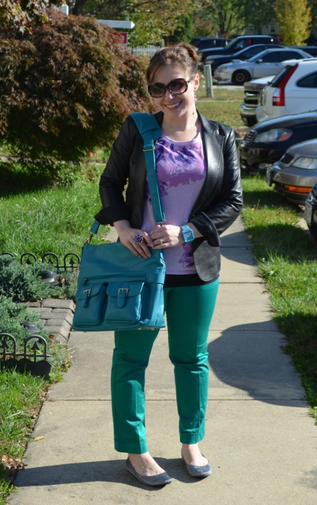 Fashion Friday: Purple, Teal, and Leather