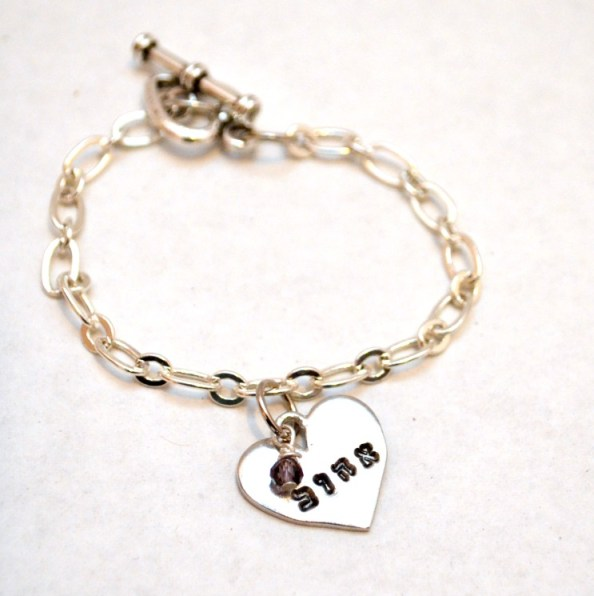 Heart Bracelet Beloved in Hebrew