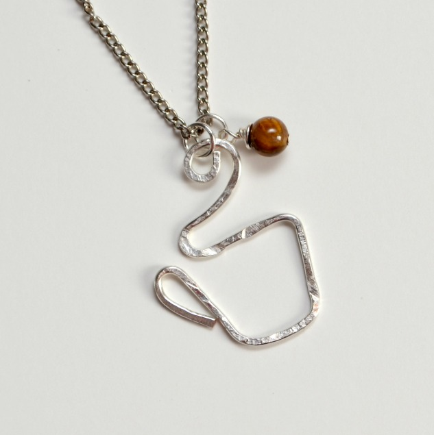 Hammered Wire Coffee Cup Necklace