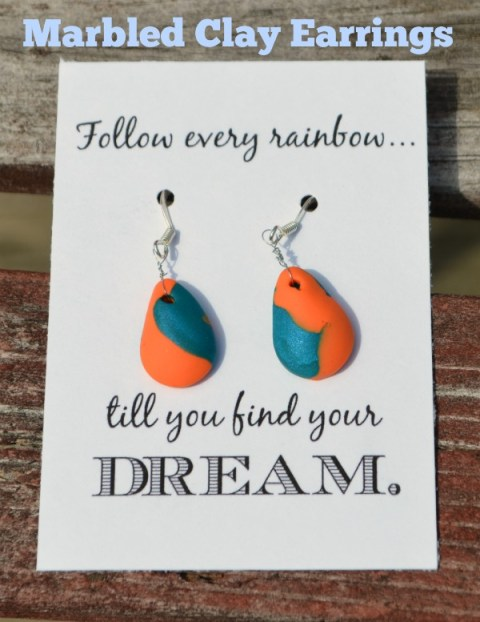 Marbled Teardrop Earrings made of Sculpey clay
