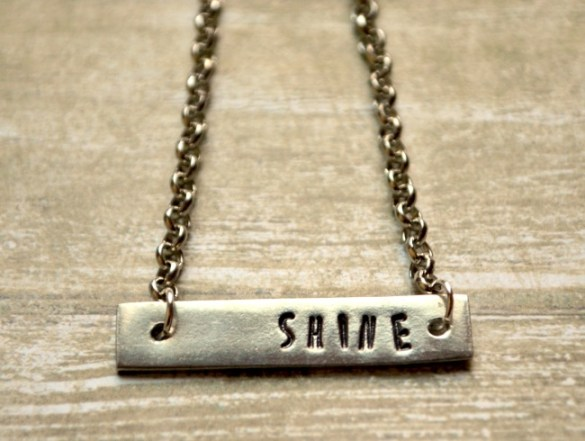 One Word Metal Stamped Bar Necklace