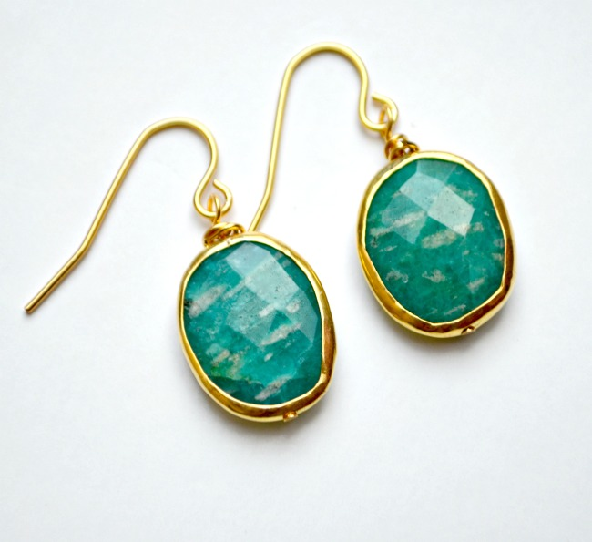 Gold Plated Gemstone Earrings