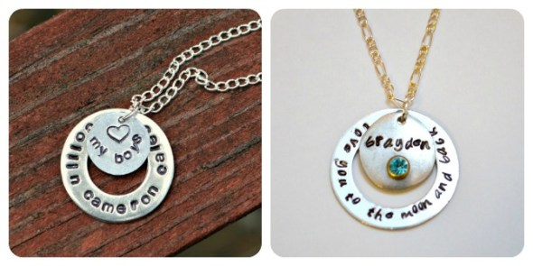 Stamped Washer Necklaces for Moms