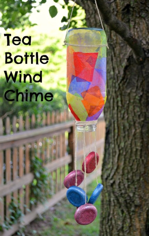 Tea Bottle Wind Chime Craft for Kids