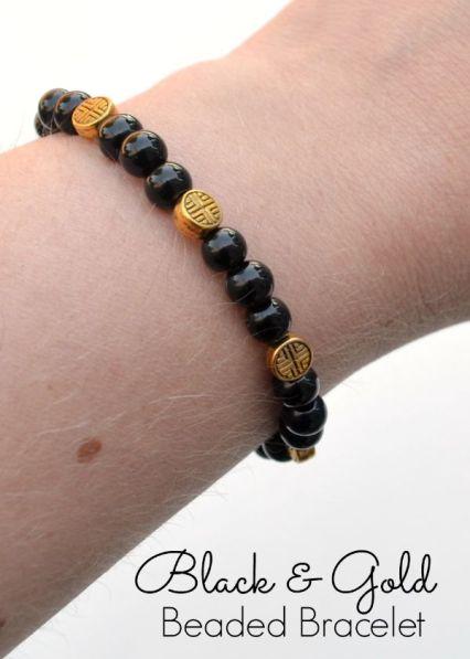 Black and Gold Beaded Bracelet